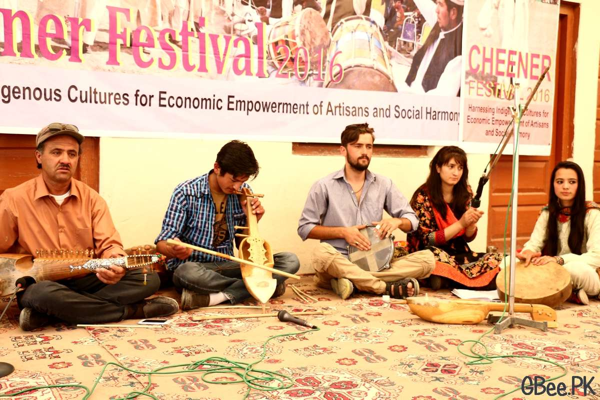 Bulbulik musical group performing an instrumental tune and Chineer Festival in Gojal