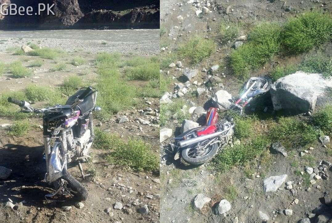 Bike accident in Gilgit on Ghizer road near baseen