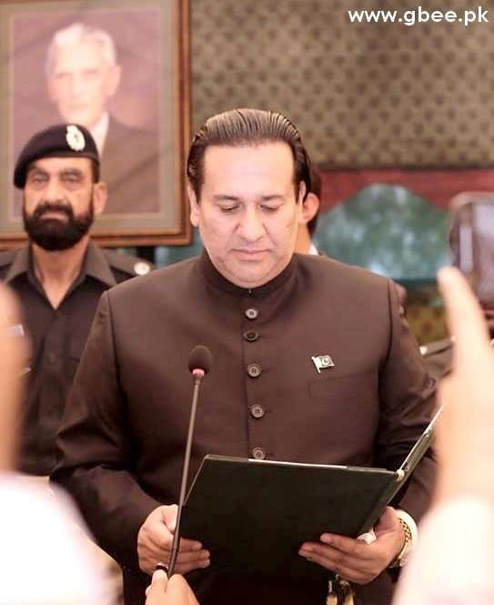 Raja Jalal Hussain Maqpoon as the new Governor of Gilgit-Baltistan at the Governor House in Gilgit