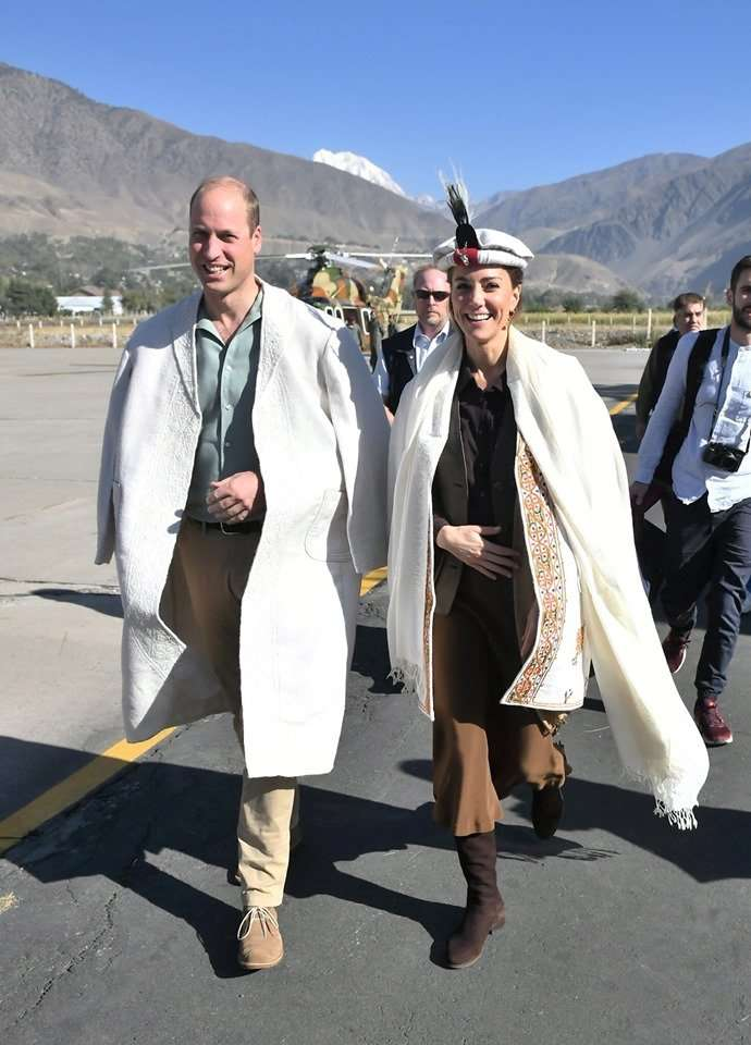 The Duke and Duchess of Cambridge arrive at Chitral Airport